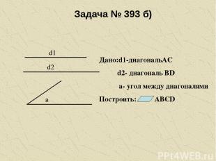 Задача № 393 б) d1 d2 a Дано:d1-диагональАС d2- диагональ ВD а- угол между диаго