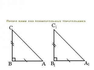 Перед вами два прямоугольных треугольника АВС и А1В1С1, у них соответственно рав