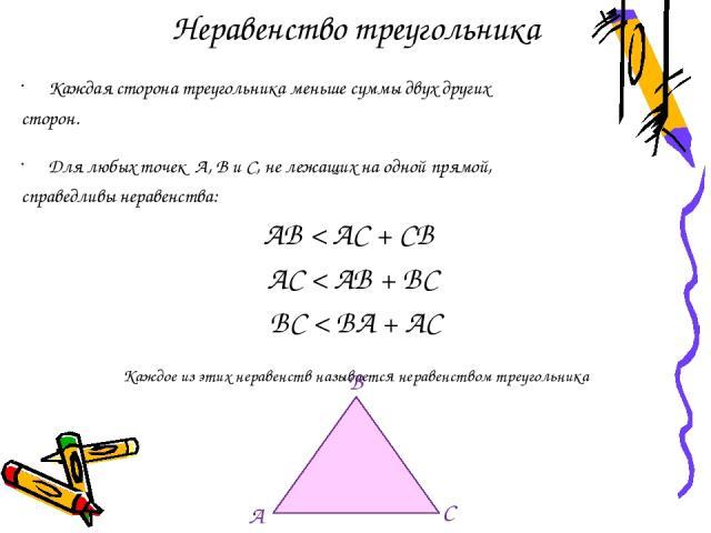 Неравенство треугольника Каждая сторона треугольника меньше суммы двух других сторон. Для любых точек А, В и С, не лежащих на одной прямой, справедливы неравенства: АВ < АС + СВ АС < АВ + ВС ВС < ВА + АС Каждое из этих неравенств называется неравенс…