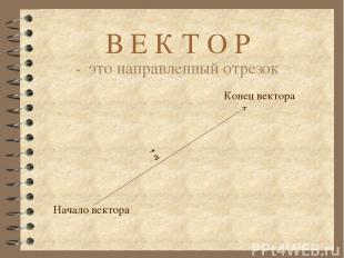 В Е К Т О Р - это направленный отрезок Начало вектора Конец вектора а