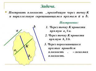 Задача. Построить плоскость α, проходящую через точку К и параллельную скрещиваю