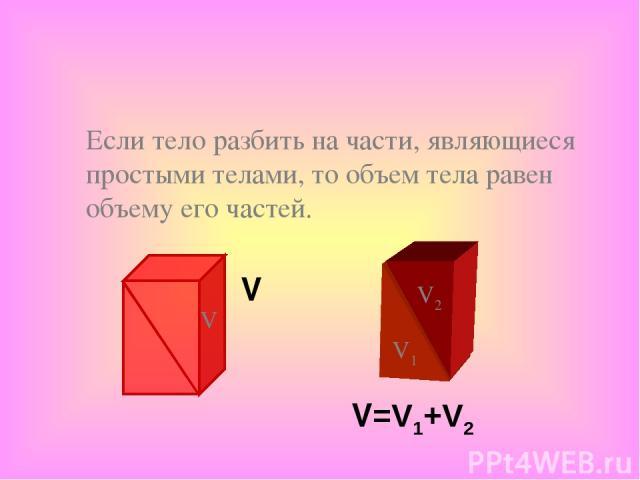 Если тело разбить на части, являющиеся простыми телами, то объем тела равен объему его частей. V V=V1+V2 V1 V2 V