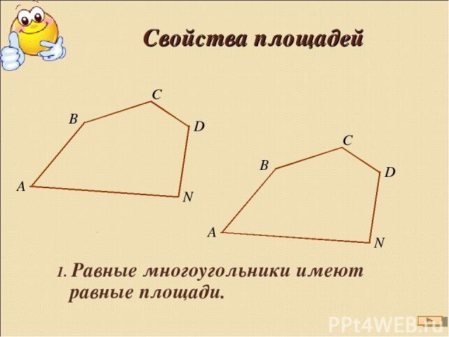 Свойства площадей 1. Равные многоугольники имеют равные площади.