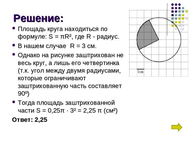 Решение: Площадь круга находиться по формуле: S =πR², где R - радиус. В нашем случае R = 3 см. Однако на рисунке заштрихован не весь круг, а лишь его четвертинка (т.к. угол между двумя радиусами, которые ограничивают заштрихованную часть составляе…