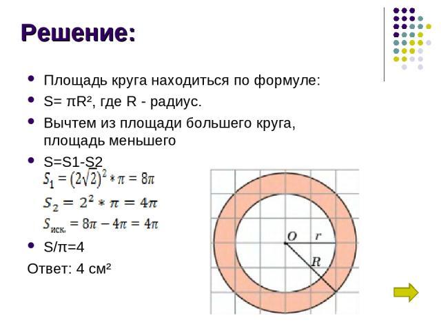 Решение: Площадь круга находиться по формуле: S=πR², где R - радиус. Вычтем из площади большего круга, площадь меньшего S=S1-S2 S/π=4 Ответ: 4 см²