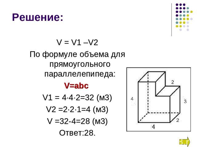 V = V1 –V2 По формуле объема для прямоугольного параллелепипеда: V=abc V1 = 4∙4∙2=32 (м3) V2 =2∙2∙1=4 (м3) V =32-4=28 (м3) Ответ:28. Решение: