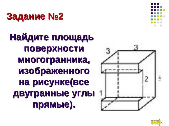 Задание №2 Найдите площадь поверхности многогранника, изображенного на рисунке(все двугранные углы прямые).