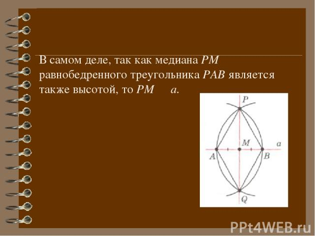 В самом деле, так как медиана РМ равнобедренного треугольника РАВ является также высотой, то РМ ┴ а.
