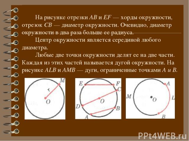 На рисунке отрезки АВ и ЕF — хорды окружности, отрезок СВ — диаметр окружности. Очевидно, диаметр окружности в два раза больше ее радиуса. Центр окружности является серединой любого диаметра. Любые две точки окружности делят ее на две части. Каждая …