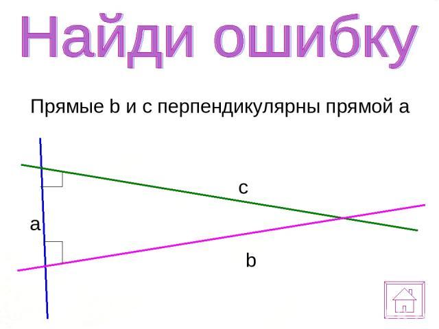 Прямые b и c перпендикулярны прямой a