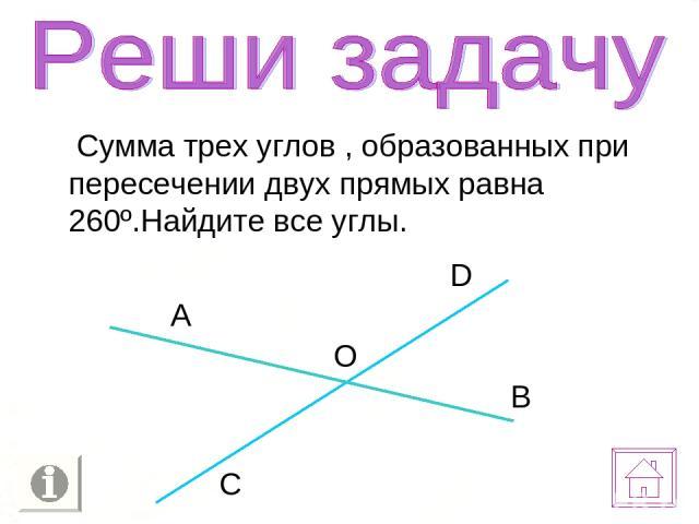 Сумма трех углов , образованных при пересечении двух прямых равна 260º.Найдите все углы.