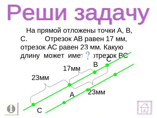 На прямой отложены точки А, В, С. Отрезок АВ равен 17 мм, отрезок АС равен 23 мм. Какую длину может иметь отрезок ВС А В С 17мм 23мм С 23мм