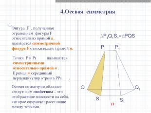 P1Q1S1= PQS 4.Осевая симметрия P Q S n P1 Q1 S1 Точки P и P1 называются симметри