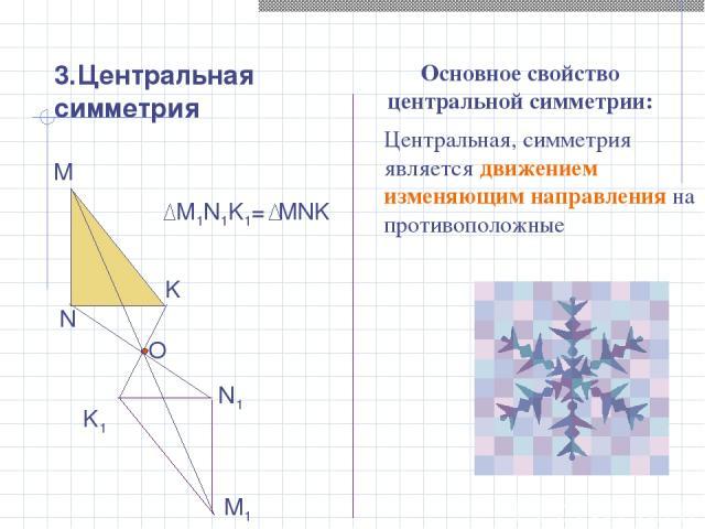 3.Центральная симметрия М М1 N N1 K K1 O M1N1K1= MNK Центральная, симметрия является движением изменяющим направления на противоположные Основное свойство центральной симметрии: