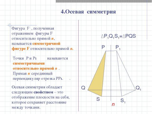 P1Q1S1= PQS 4.Осевая симметрия P Q S n P1 Q1 S1 Точки P и P1 называются симметричными относительно прямой n . Прямая n серединный перпендикуляр отрезка PP1. . Фигура F , полученная отражением фигуры F относительно прямой n, называется симметричной ф…
