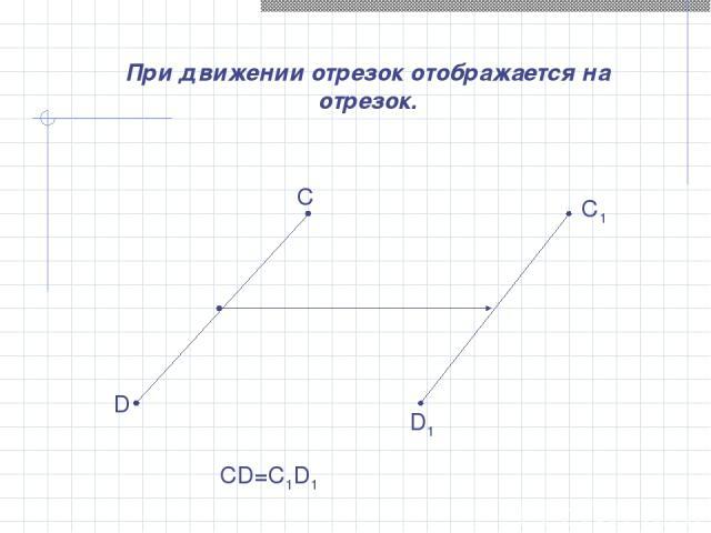 При движении отрезок отображается на отрезок. С D C1 D1 CD=C1D1