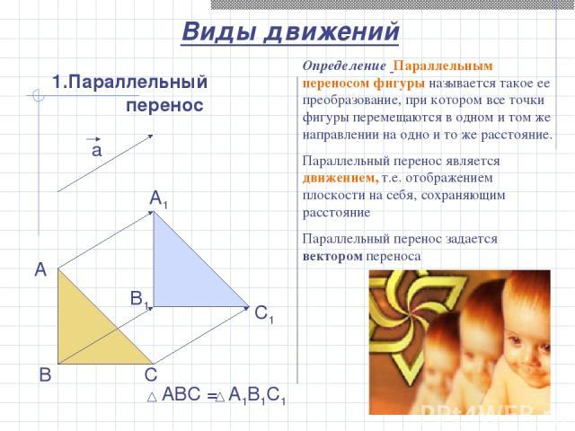 1.Параллельный перенос а A B C A1 B1 C1 Виды движений АВС = А1В1С1 Определение Параллельным переносом фигуры называется такое ее преобразование, при котором все точки фигуры перемещаются в одном и том же направлении на одно и то же расстояние. Парал…