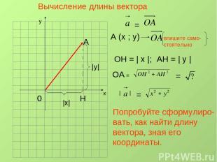Вычисление длины вектора х у 0 А Н A (x ; y) = впишите само- стоятельно ОН =   х