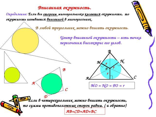 Вписанная окружность. Определение: Если все стороны многоугольника касаются окружности, то окружность называется вписанной в многоугольник. Если в четырехугольник можно вписать окружность, то суммы противоположных сторон равны. ( и обратно) АВ+СД=АД…