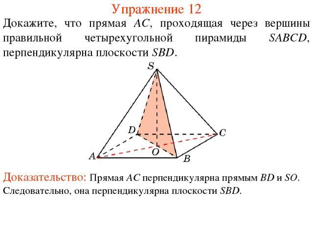 Докажите, что прямая AC, проходящая через вершины правильной четырехугольной пирамиды SABCD, перпендикулярна плоскости SBD. Упражнение 12 Доказательство: Прямая AC перпендикулярна прямым BD и SO. Следовательно, она перпендикулярна плоскости SBD.