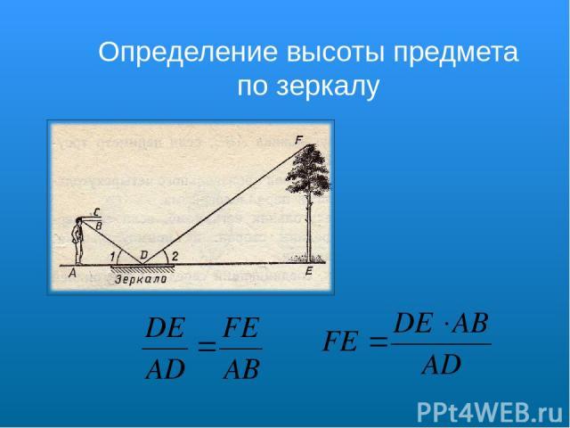 Определение высоты предмета по зеркалу