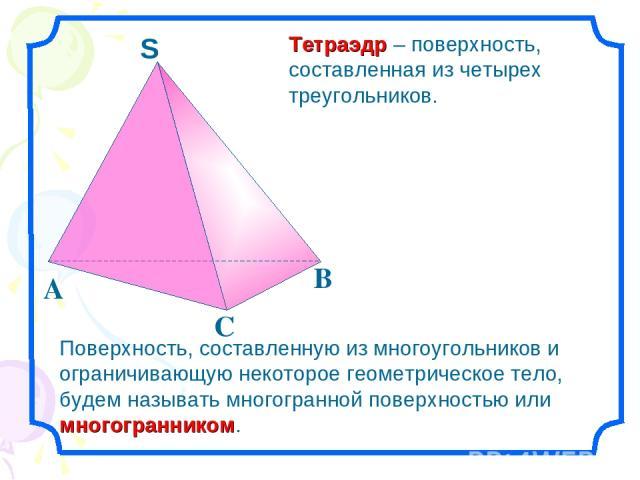 Тетраэдр – поверхность, составленная из четырех треугольников. Поверхность, составленную из многоугольников и ограничивающую некоторое геометрическое тело, будем называть многогранной поверхностью или многогранником.