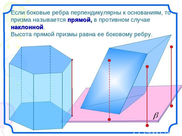 Если боковые ребра перпендикулярны к основаниям, то призма называется прямой, в противном случае наклонной. Высота прямой призмы равна ее боковому ребру.