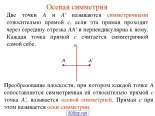 Осевая симметрия Две точки А и А' называются симметричными относительно прямой с