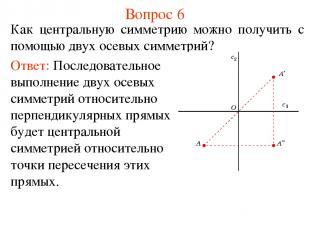 Вопрос 6 Как центральную симметрию можно получить с помощью двух осевых симметри