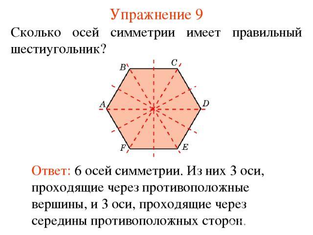Упражнение 9 Сколько осей симметрии имеет правильный шестиугольник? Ответ: 6 осей симметрии. Из них 3 оси, проходящие через противоположные вершины, и 3 оси, проходящие через середины противоположных сторон.