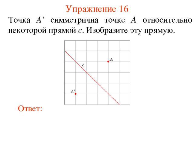 Упражнение 16 Точка A' симметрична точке A относительно некоторой прямой c. Изобразите эту прямую.