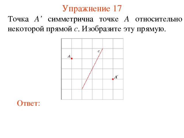 Упражнение 17 Точка A' симметрична точке A относительно некоторой прямой c. Изобразите эту прямую.