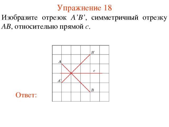 Упражнение 18 Изобразите отрезок A'B', симметричный отрезку AB, относительно прямой c.
