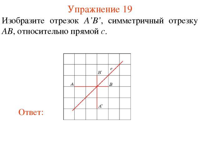 Упражнение 19 Изобразите отрезок A'B', симметричный отрезку AB, относительно прямой c.