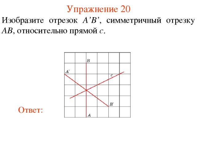 Упражнение 20 Изобразите отрезок A'B', симметричный отрезку AB, относительно прямой c.