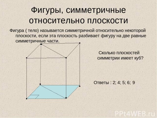Фигуры, симметричные относительно плоскости Фигура ( тело) называется симметричной относительно некоторой плоскости, если эта плоскость разбивает фигуру на две равные симметричные части. Сколько плоскостей симметрии имеет куб? Ответы : 2; 4; 5; 6; 9
