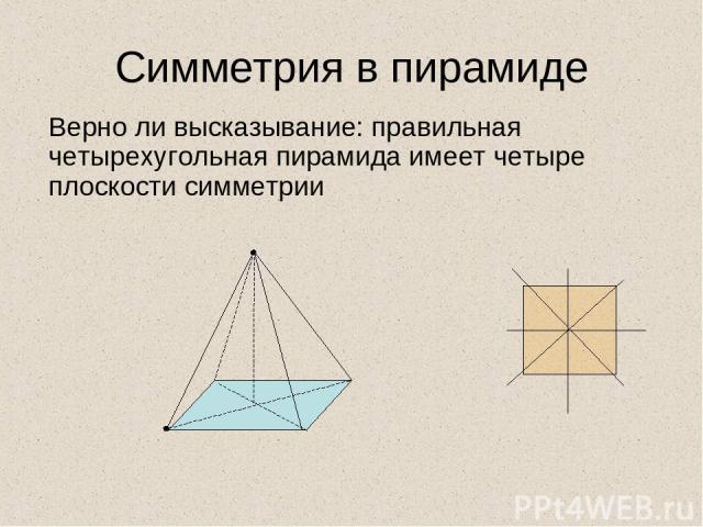 Симметрия в пирамиде Верно ли высказывание: правильная четырехугольная пирамида имеет четыре плоскости симметрии
