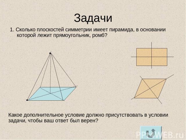Задачи 1. Сколько плоскостей симметрии имеет пирамида, в основании которой лежит прямоугольник, ромб? Какое дополнительное условие должно присутствовать в условии задачи, чтобы ваш ответ был верен?