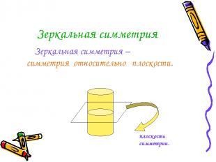 Зеркальная симметрия Зеркальная симметрия – симметрия относительно плоскости. пл