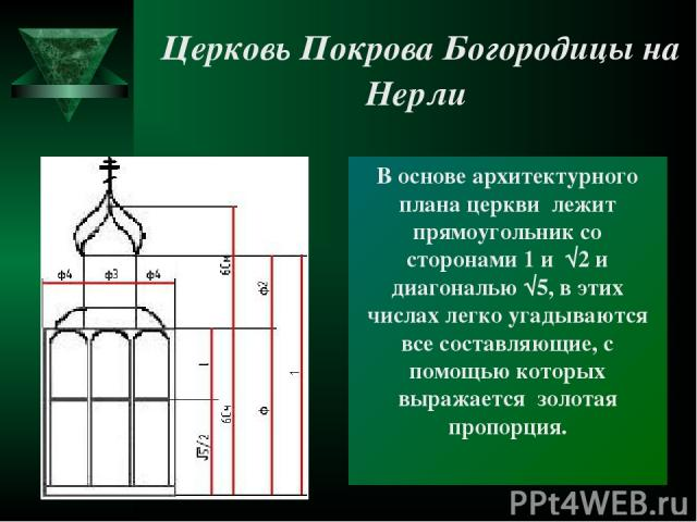 В основе архитектурного плана церкви лежит прямоугольник со сторонами 1 и √2 и диагональю √5, в этих числах легко угадываются все составляющие, с помощью которых выражается золотая пропорция. Церковь Покрова Богородицы на Нерли