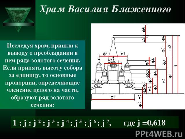 Исследуя храм, пришли к выводу о преобладании в нем ряда золотого сечения. Если принять высоту собора за единицу, то основные пропорции, определяющие членение целого на части, образуют ряд золотого сечения: 1 : j : j 2 : j 3 : j 4 : j 5 : j 6 : j 7,…