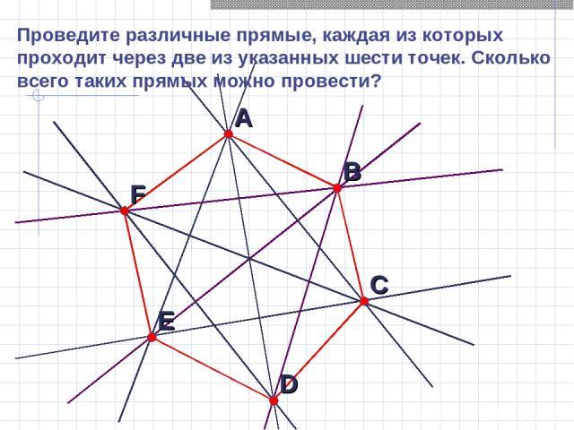 Проведите различные прямые, каждая из которых проходит через две из указанных шести точек. Сколько всего таких прямых можно провести?