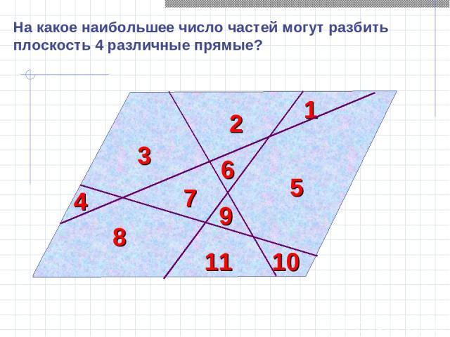 На какое наибольшее число частей могут разбить плоскость 4 различные прямые? 1 2 3 4 5 6 7 8 10 11 9