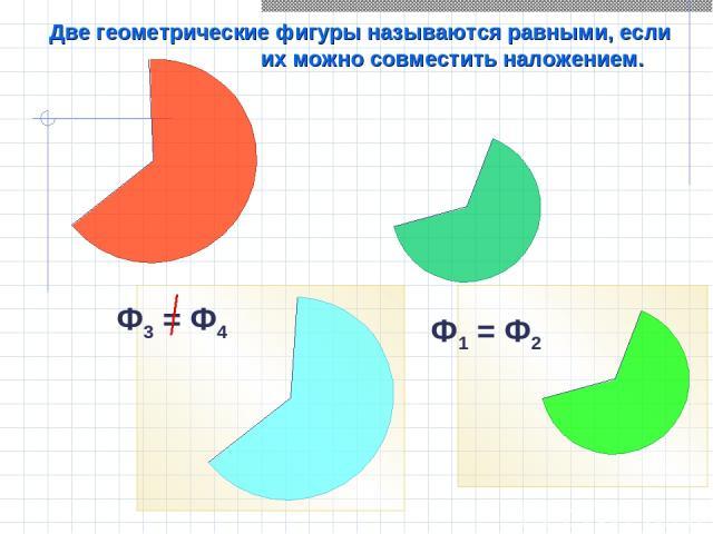 Две геометрические фигуры называются равными, если их можно совместить наложением. Ф1 = Ф2 Ф3 = Ф4
