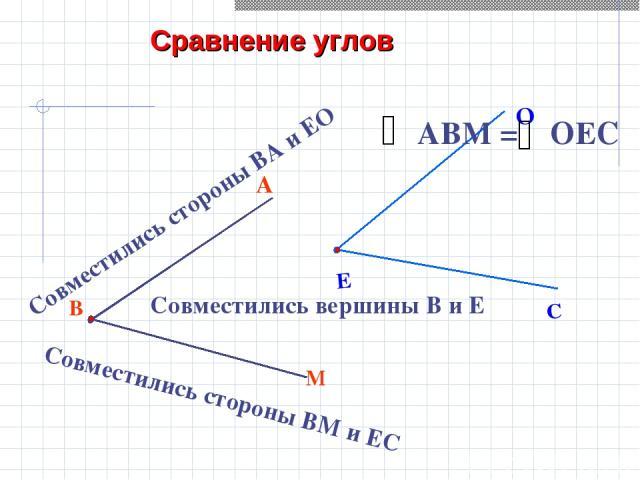 В М А Совместились вершины В и Е Совместились стороны ВА и ЕО Совместились стороны ВМ и ЕС Сравнение углов