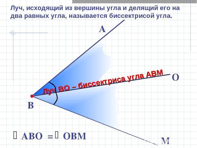 В М А O Луч ВО – биссектриса угла АВМ Луч, исходящий из вершины угла и делящий его на два равных угла, называется биссектрисой угла.