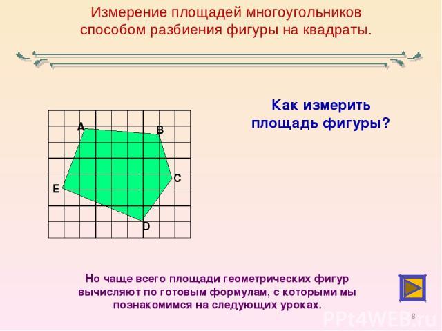 Измерение площадей многоугольников способом разбиения фигуры на квадраты. Как измерить площадь фигуры? Но чаще всего площади геометрических фигур вычисляют по готовым формулам, с которыми мы познакомимся на следующих уроках. *