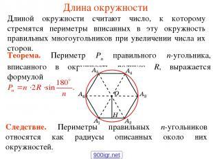 Длина окружности Длиной окружности считают число, к которому стремятся периметры
