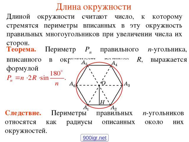Длина окружности Длиной окружности считают число, к которому стремятся периметры вписанных в эту окружность правильных многоугольников при увеличении числа их сторон. Следствие. Периметры правильных n-угольников относятся как радиусы описанных около…