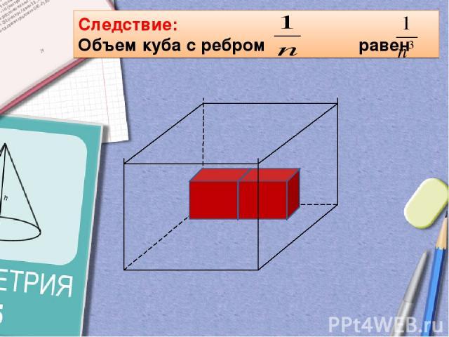 Следствие: Объем куба с ребром равен